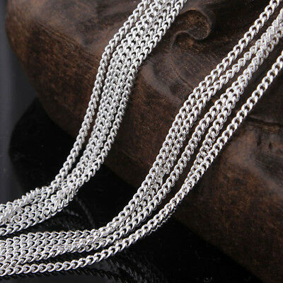 """Wholesale 5pcs 2mm 925 Sterling Silver Filled Curb Chains Necklaces 16""""-30"""""""