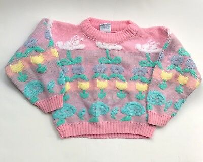 Vintage Girls Acrylic Pastel Sweater 2T/3T Floral Flowers Pink Knitique Kawaii
