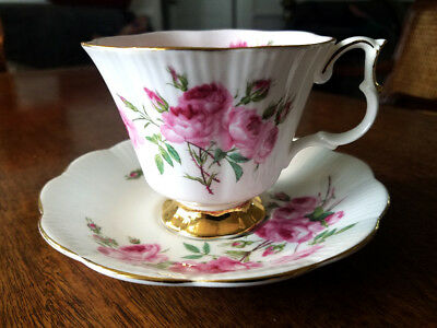 Royal Albert Footed Cabinet Tea Cup & Saucer, Pink Floral Roses & Gold 4369