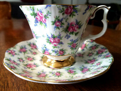 Royal Albert Footed Tea Cup & Saucer, Pink Roses, Blue Flowers Gold Trim # 4430