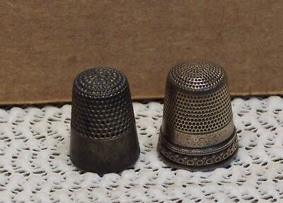 2 x Vintage Sterling Silver Thimbles - size 12 & 8 , star and shield