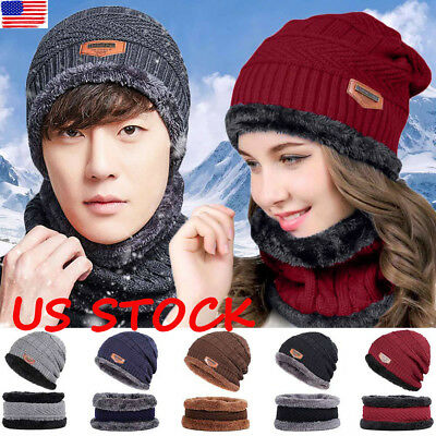 Women Men Crochet Knitted Woolly Hat Beanie Winter Warm Fleece Ski Cap  Scarf Set 86ed27c04908