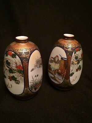 FAB! Antique Pair Japanese Kutani Hand Painted Porcelain Vases