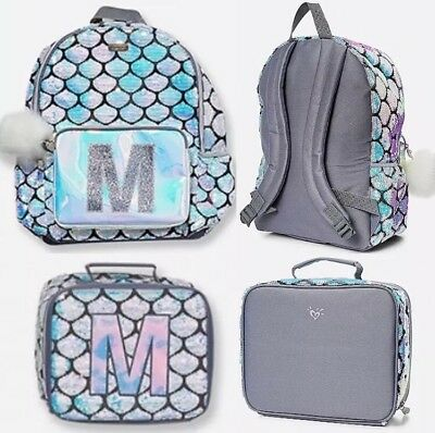 "Justice Girls Mermaid Initial /""N/"" Backpack NWT Very Cute! Lunch Tote Set"
