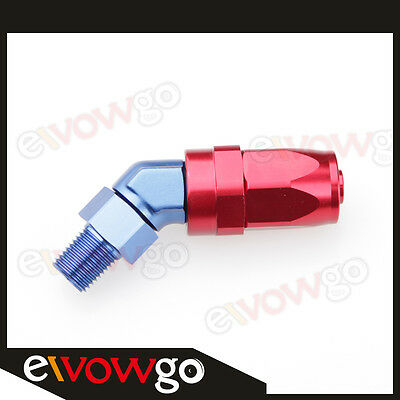 """6AN AN6 AN-6 To 1/8"""" NPT 45 Degree Swivel Hose End Fitting Adaptor Red/Blue"""