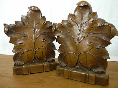 Antique BLACK FOREST Style SYROCO Faux Wood BOOKENDS - MAPLE LEAVES Vintage EUC