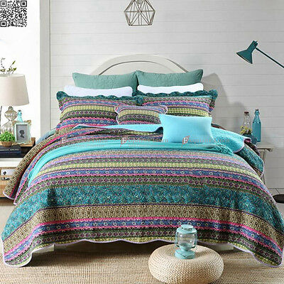 Stripe 100% Cotton Quilted Coverlets Set Queen Size Bedding Florals Bedspreads
