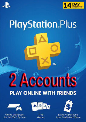 2 ACCOUNTS PS PLUS 14 Days for PS VITA / PS3 / PS4 / Playstation