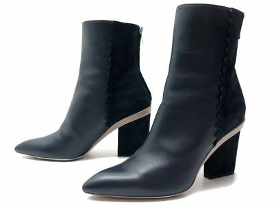 Neuf Chaussures Hermes Bottines A Talons Cuir Et Daim 40 + Boite Low Boots  1100€ 8c467f4ac74