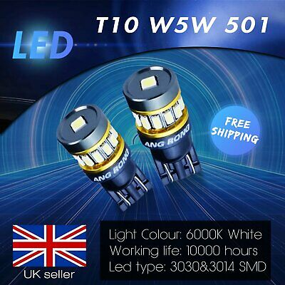 2x T10 501 W5W 5W LED Wedge Bulbs Sidelight Tail Stop Reverse Light Xenon White