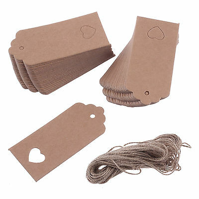 100PCS 9cmx4cm Kraft Paper Gift Tags Wedding Scallop Label Blank Luggage Heart