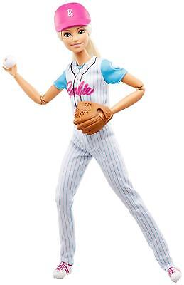 """Brand New Barbie Made To Move  """"baseball Player Doll"""" 22 Joint Articulated"""