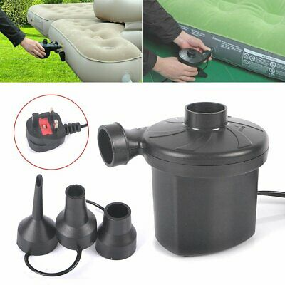 240V/12V Electric Air Pump Inflator Camping Airbed Toy Inflatable Mains Car Plug