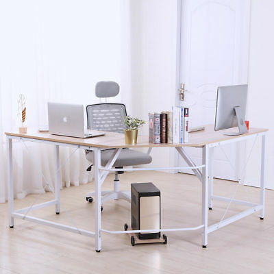 L-Shaped Corner Desk Computer Office Table PC Laptop Home Study Workstation Wood