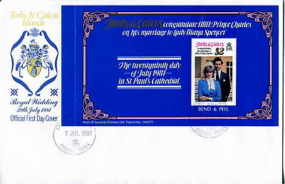 1981 Turks & Caicos Is $2 Bend & Peel Royal Wedding Prince Charles & Diana FDC