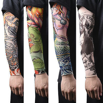 1/2pcs Nylon Fake Temporary Tattoo Sleeves  Tatoo Arm Stockings For Men C IE