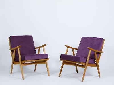 Pair of Mid Century Boomerang  Easy Armchairs in Oak and Purple Upholstery