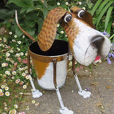 Nodding Metal Dog Planter Outdoor Pot Garden Ornament With Wagging Tail