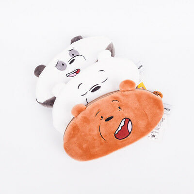 MINISO We Bare Bears Plush Cartoon Pencil Case Pen Makeup Stationery Bags