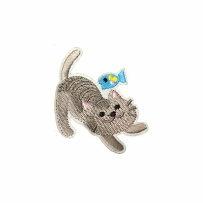 Grey Cat And Fish (Iron On) Embroidery Applique Patch Sew Iron Badge