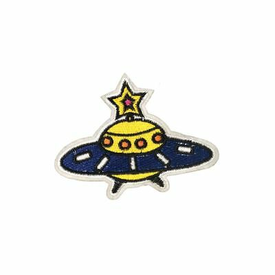 Starry Spaceship (Iron On) Embroidery Applique Patch Sew Iron Badge
