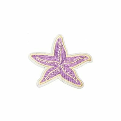 Purple Starfish (Iron On) Embroidery Applique Patch Sew Iron Badge