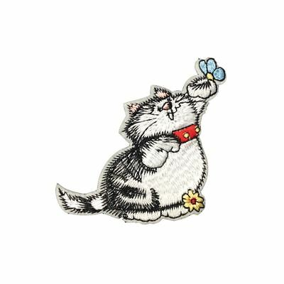 Fat Cat Chasing Flowers (Iron On) Embroidery Applique Patch Sew Iron Badge