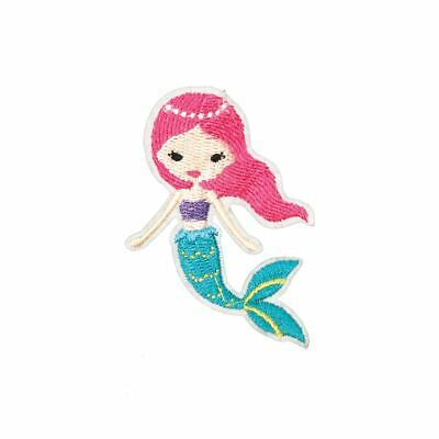 Pretty Pink Mermaid (Iron On) Embroidery Applique Patch Sew Iron Badge