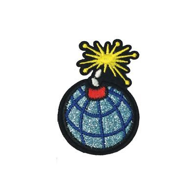 Blue Glitter Bomb (Iron On) Embroidery Applique Patch Sew Iron Badge
