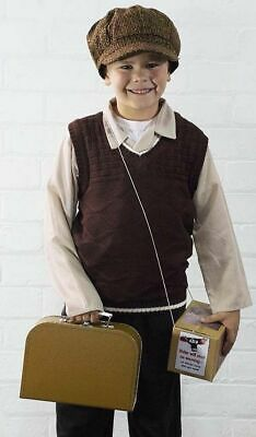1940's-Wartime-History Knitted Tank Top/Pullover-Cap-Suitcase & Gas Mask Box Set