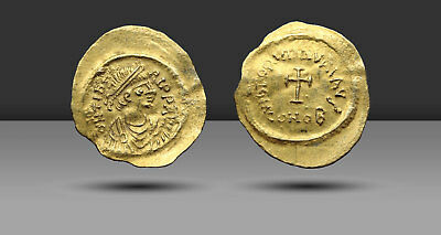 Maurice Tiberius. Gold Tremissis, AD 582-602. Constantinople, Cross potent