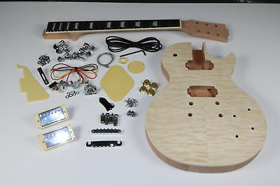 Unfinished LP Standard Electric Guitar Kit quilted Maple Top Veneer Grover Tuner