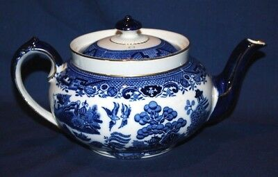 "S.HANCOCK & Sons ""ROYAL CORONAWARE- WILLOW"" VINTAGE TEA POT Excellent Condition"