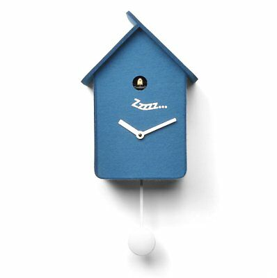NEW PROGETTI Blue Felt Wooden 'Softy' Designer Stylish Cuckoo Wall Clock 018400