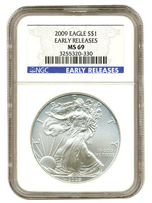 2009 Silver American Eagle (NGC MS-69) Early Release Blue Label