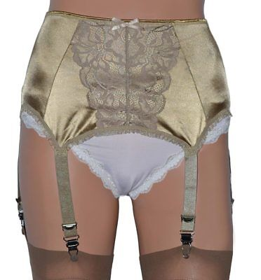 """6 Strap Suspender Belt in Gold for a Truly Glamorous Look up to Waist 48""""/122cm"""