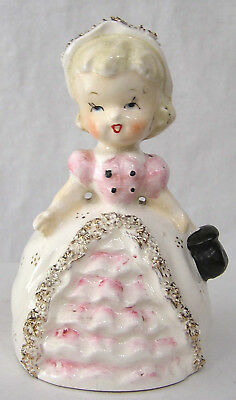 Vintage Figural Girl BELL Chase Imports Gold Flecked Spaghetti Trim Pink White