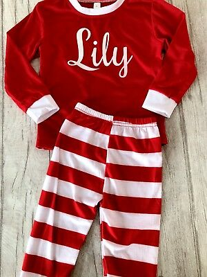 PERSONALISED CHRISTMAS PYJAMAS GIFT, Red and White PJs with White Glitter Name