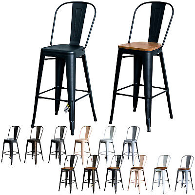 Tolix Style Rustic Vintage Metal Bar Stool Dining Bistro Furniture Wood Seat New