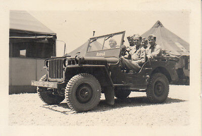 Original WWII Snapshot Photo AAF 32nd SQUADRON JEEP w/ BUMPER MARKINGS Italy 20