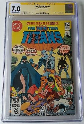 New Teen Titans (1980) Issue 2 | Cgc 7.0 Fn/vf | 1St App Deathstroke | Signed