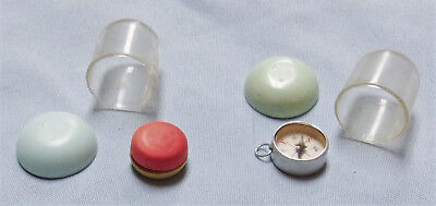 2 Vtg. Gumball Vending Machine Charm Prizes In Cases-Wood Yoyo+Compass W/mirror