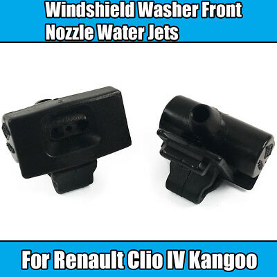 2x Rear Windshield Washers For Renault Clio IV Kangoo III Nozzle Black Plastic