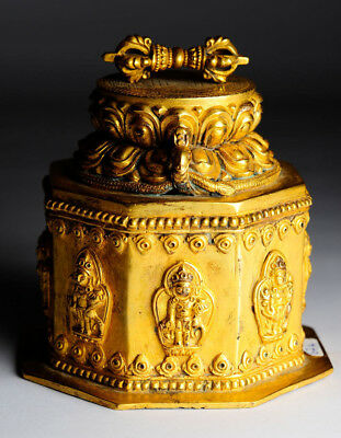 Antike Stupa Buddha Tibet Bronze 17 cm Gold alt gilt antique B67a