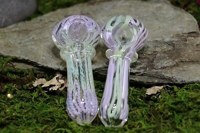 "3.5"" INCHES Lavender and Green Ringed Glass TOBACCO Smoking Pipe Herb Bowl Spoon"