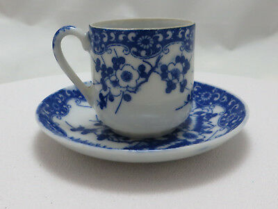 Antique Japanese Blue & White Eggshell Porcelain Coffee Cup & Saucer, Dai Nippon