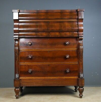 Large / Tall Victorian Mahogany Scottish Ogee Chest Of Drawers