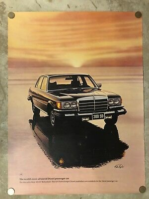 Mercedes Benz 300 SD Turbo Diesel Sedan ORIGINAL Large Poster RARE! Awesome L@@K