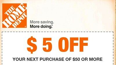 Two (2x) Home Depot $5 off $50 2COUPONS-Fast Delivery-InStore