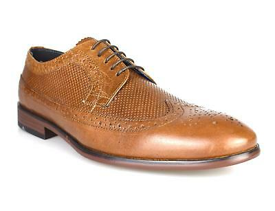 Red Tape Mens Tan Italian style Real Leather Smart Wedding Office Shoes OFFER !!